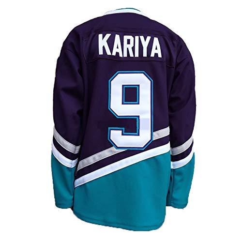 Yajun NHL Eishockey Trikots Jersey Selanne #8 / Kariya #9 Mighty Ducks Film Herren Sweatshirts Atmungsaktiv T-Shirt Bekleidung,9-Black,2XL