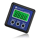 Neoteck Digital Angle Finder, Backlight LCD Digital Angle Gauge Level Box | Magnetic Base, Data Hold, IP54 Dust and Water Resistant- Blue