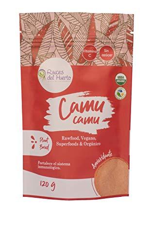 RAÍCES DEL HUERTO - Camu Camu orgánico certificada USDA - Bolsa de 120 g - Fortalece el sistema inmunológico - Ideal para veganos, vegetarianos y atletas