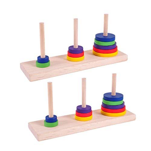 STOBOK 2 Piezas Hanoi Juego de Rompecabezas matemático de Madera Rompecabezas de la Torre Juguete lógica Rompecabezas Rompecabezas Juguete Intelectual