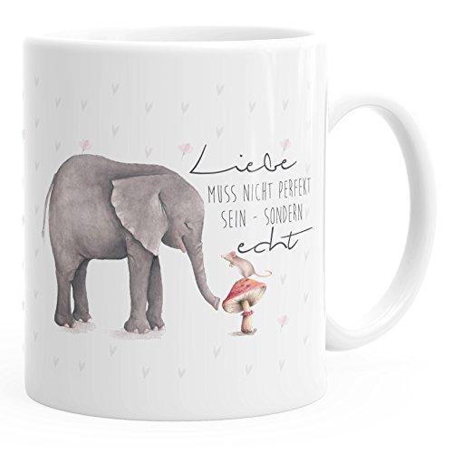 MoonWorks Kaffee-Tasse Liebe muss Nicht perfekt Sein sondern echt Elefant Maus Geschenk-Tasse Teetasse Keramiktasse einfarbig weiß Unisize