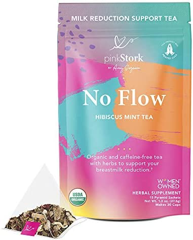 Pink Stork No Flow Tea: Hibiscus Mint, Organic Sage Tea, 100% Organic, Naturally Reduce Breast Milk Production + Supply, Stop Lactation, Wean Naturally, Women-Owned, 30 Cups