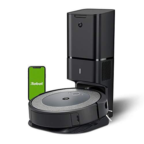 iRobot Roomba i3+552 Robot aspirapolvere connesso, due spazzole in gomma multisuperficie, suggerimenti personalizzati, compatibile con assistente vocale, tecnologia Imprint, grigio/blu