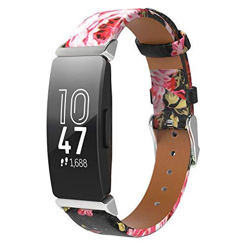 TiMOVO Bracelet Compatible avec Fitbit Inspire HR/Inspire 2/Ace 2, Classique en Cuir Véritable Bande de Montre Bracelet pour Fitbit Inspire HR/Inspire 2/Ace 2 - Noir + Rose