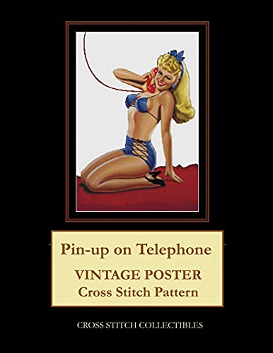 Pin-Up on Telephone: Vintage Poster Cross Stitch Pattern