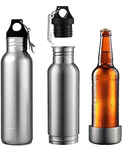 Aislador de botella de cerveza, aislador de botella de cerveza de acero inoxidable (paquete de 2) mantiene la cerveza fría con abrebotellas de cerveza para exteriores o fiestas (plata)
