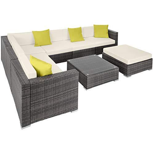 TecTake 800892 Aluminium Polyrattan Lounge Set, Sitzgruppe mit Tisch mit Glasplatte, für Garten und Terrasse, inkl. Kissen und Klemmen (Grau   Nr. 403838)