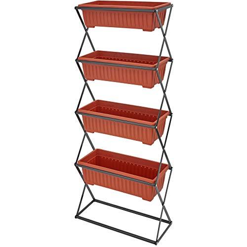 TecTake 403445 Vertikalbeet mit 4 Blumenkästen, stabil und pflegeleicht, klappbar, Indoor und Outdoor, faltbares Hochbeet für Balkon, Garten und Terrasse, 52 x 21 x 127 cm