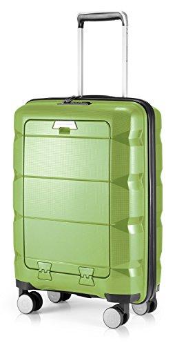 HAUPTSTADTKOFFER - BRITZ - Equipaje de Mano con Compartimento para computadora portátil, Maleta Cabina, Trolley rígido, 4 Ruedas, Super Ligero, 55 cm, 34 L – Verde Brillante