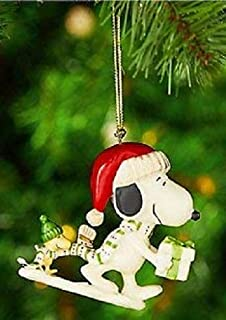 Lenox Snoopy's Holiday Gift PORCELAIN Christmas Ornament New in box Snoopy and woodstock Peanuts