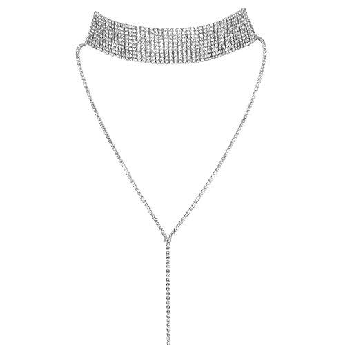 JewelryWe Schmuck Frauen Damen Multi Reihen Strass Choker Halskette Pullover Lange Kette mit Anhänger Halsband Silber