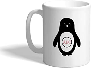 Custom Coffee Mug 11 Ounces Personalized Monogram Penguin Aqua B Ceramic Tea Cup White