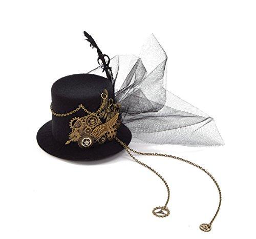 Women Steampunk Mini Top Hat Hair Clip Punk Gear Wings Clock Butterfly Hair Accessories