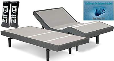 DynastyMattress S-Cape 2.0 Grey Adjustable Beds Set Sleep System Leggett & Platt, with Luxury 12-Inch Gel Memory Foam Bed (Split King)