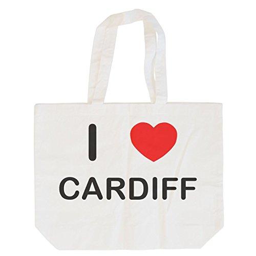 I Love Cardiff - Bolsa de Compras de algodón Maxi