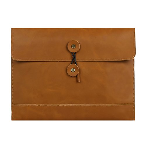 Leathario Leather Envelope Folder Case Portfolio Mens Clutch Portfolio Sleeve Case for MacBook Air 11.6 inch,12 inch Apple Ipad Padfolio File folder A4 document organizer Brown