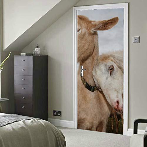 Blanco divertido paquete lindo animal cabra autoadhesivo vinilo extraíble tatuajes de pared para aula puerta decoración papel pintado 30x79 pulgadas (77x200 cm) 2 piezas