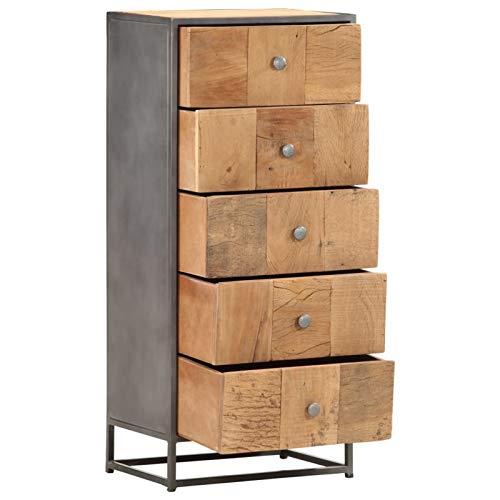 Tidyard Schubladenkommode Schubladenschrank Anrichte Sideboard für Schlafzimmer Wohnzimmer Badezimmer 45×30×100 cm Massives Altholz