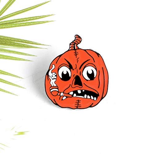 FSAKLFS Horror Kürbis Lampe Raucht Eine Zigarette Gesicht Halloween Neue Emaille Brosche Persönlichkeit Kreative Abzeichen Halloween Zubehör