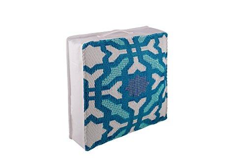 FAB HAB Hab Outdoor Bodenkissen, UV- und witterungsbeständig, recycelter Kunststoff - Seville - Multicolor Blue (51 cm x 51 cm)