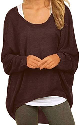 Meyison  Damen Lose Asymmetrisch Sweatshirt Pullover Bluse Oberteile Oversized Tops T-Shirt, XL, Coffee B