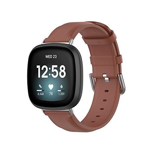 MAKACTUA Rem kompatibel för Fitbit Versa 3 rem/Fitbit Sense rem män kvinnor, läder justera sport fitness armband för Fitbit Versa 3/Sense