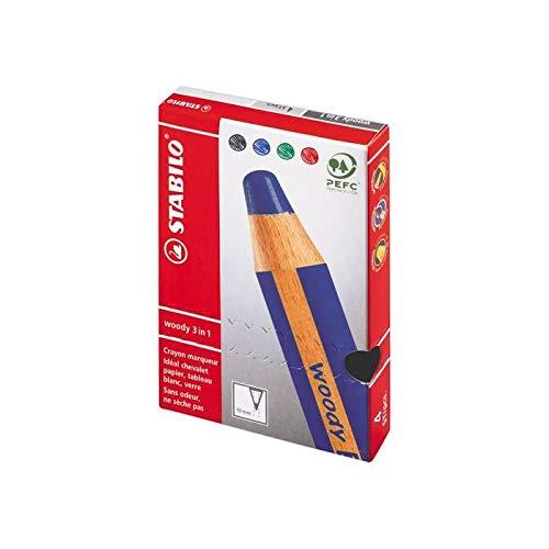Stabilo - Lápices multitalentes de madera (3 en 1), color negro + azul + rojo + verde