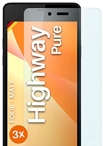 moex Schutzfolie matt kompatibel mit Wiko Highway Pure - Folie gegen Reflexionen, Anti Reflex Bildschirmschutz, Matte Bildschirmfolie - 3X Stück