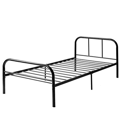 RUOXI Einzelbettrahmen, 3 Fuß Einzelbettrahmen aus Metall mit 150 kg sicherem stabilem langlebigem und geräuschlosem schwarzen Einzelbett für Kinder und Jugendliche