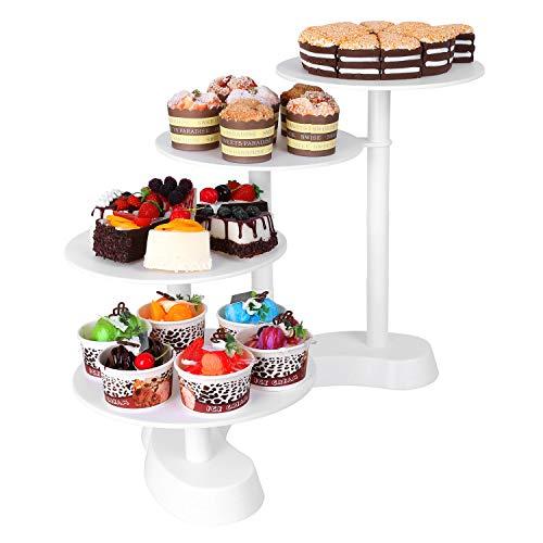 MVPower Soporte expositor para tartas, pasteles y cupcakes, 4 bandejas, color blanco, ideal para tarta de bodas o cumpleaños, ABS, 4plateaux, 4 Plateaux