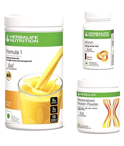 Herbalife Weight Loss Package- Formula1 MANGO Shake 500gm, Personalized Protein Powder 200 Gm and Afresh Energy Drink Lemon 50 Gm with FREE Shaker Cup worth Rs 200