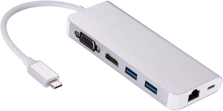 ZHENGQI-US USB 3.0 Hub 6 in 1 VGA to Charg HDMI PD Type-C Easy-to-use USB3.0 favorite