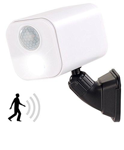 Luminea Aussenleuchte Batterie: LED-Wandspot für innen & außen, Bewegungssensor, 7 Monate Laufzeit (LED Leuchte mit Bewegungsmelder)