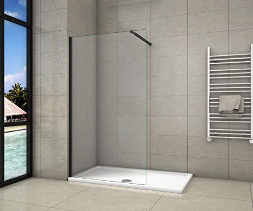 Paroi de douche 60x200cm en noire mat paroi à l'italienne en 8mm verre anticalcaire livré avec une barre de fixation extensible en noire mat