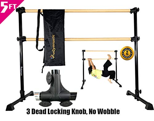 PreGymnastic 5 Ft Adjustable & Portable Double Freestanding Ballet Barre with Carry Bag for Dancing Stretching (1)