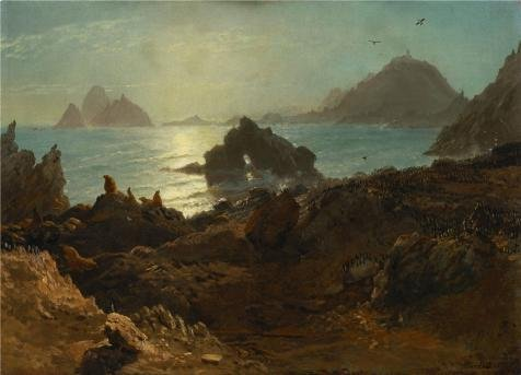 Oil Painting 'Albert Bierstadt,Farallon Islands,Pacific Ocean,California,1872', 30 x 42 inch / 76 x 106 cm , on High Definition HD canvas prints is for Gifts And Garage, Gym And Home Office Decoration