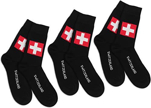 Storfisk fishing & more 3 Paar Schweiz Socken Schwarz/Rot/Weiß mit Aufschrift 'Switzerland' + Fahne, breiter Komfortbund, handgekettelte, weiche Naht, Baumwollmix, Schuhe/Stiefel - Größe:42-47