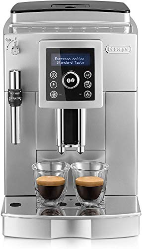 De'longhi - Cafetera Superautomática 15 Bares de Presión, Espresso y Cappuccino, Depósito de Agua Extraíble 1.8 l, Panel LCD, Dispensador de Café Ajustable, Limpieza Automática, ECAM 23.420.SB, Plata