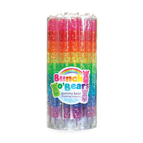 OOLY, Bunch O' Bears, Stacking Crayons, Gummy Bear, 12 Interchangeable Colors - Tub of 24