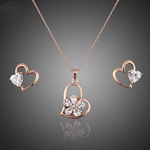 AdronQ Örhängen ringar studs öron naglar roséguld färg kristall hjärta örhängen och halsband smycken set
