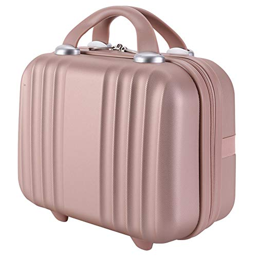 Exttlliy Mini Hard Shell Hard Travel Luggage Cosmetic Case, Small Portable Carrying Case Suitcase for Makeup (Rose Gold)