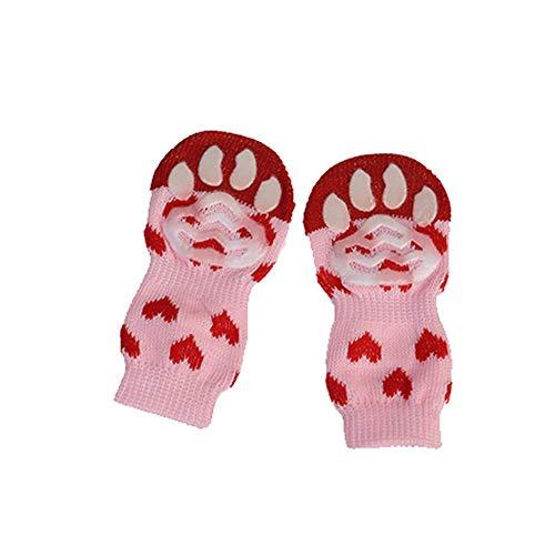 Classicoco Sokken, Anti-Slip Knit Dog Paw Protector, Leuke Cartoon Sokken, Breien, Warme, 4 Stks Pet Puppy Hond Sokken Anti-slip Breien Ademende Elasticiteit Warm Winter Binnen