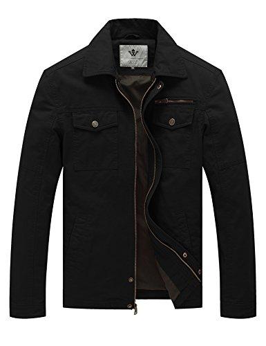 WenVen Giacca Militare in Cotone Giubbotto Bavero con Zip Antivento Cappotto Leggero Mezza Stagione Giaccone Tempo Libero Uomo Nero S