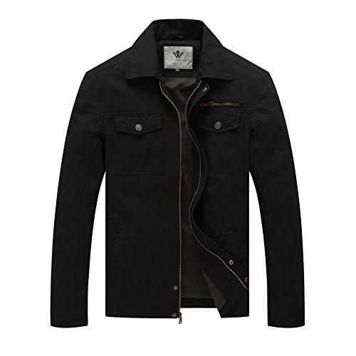WenVen Men's Outdoor Lightweight Jacket Autumn Casual Cotton Coat Windproof Warm Jackets Multi Pockets Jacket