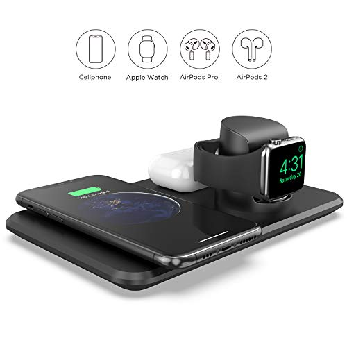 LETSCOM Wireless Charger,3 in 1 Qi-Certified 15W Fast Charging Station for Apple Watch, AirPods, Wireless Charging Dock Compatible with iPhone 11/11 Pro/XS Max/XR/XS/X/iWatch Series(NO QC3.0 Adapter)