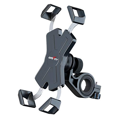 Grefay Bike Phone Mount Metal Motorcycle Handlebar Phone Holder Scooter Phone Clamp for 4.0-7.0 Inch Smartphone with 360° Rotation