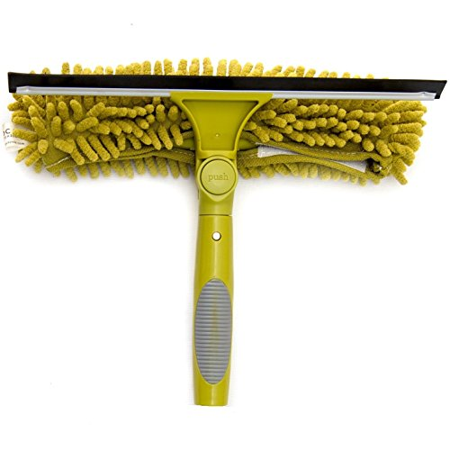 DOCAZOO DocaPole Window Squeegee + Scrubber Combo Attachment (w/ 3 Squeegee Blades) for Window Cleaning // Multi-Angle Window Washer Accessory for Extension Pole // DocaPole Attachment