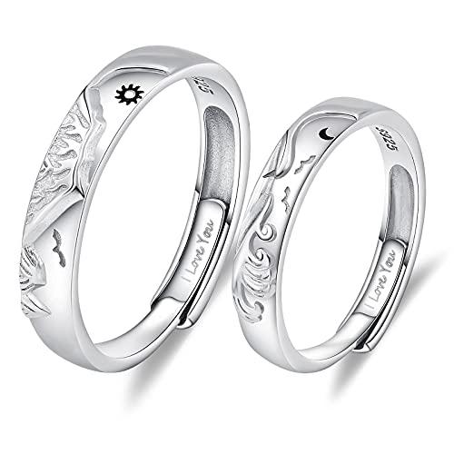 AnazoZ Anillo de compromiso, alianza de plata 925, montaña y mar sol y luna, anillo simple ajustable, alianzas de boda, Plata 925.,