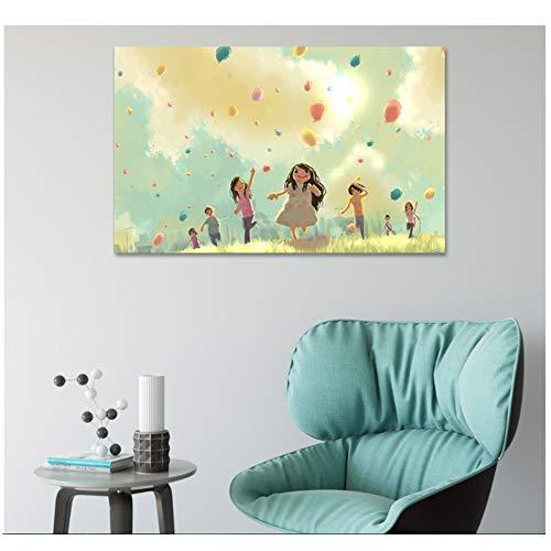 NO BRAND Pinturas pintadas sobre Lienzo Dibujos Animados interesantes Pinturas para Habitaciones...
