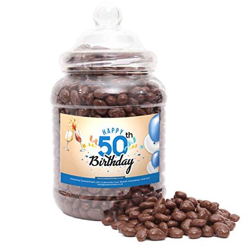 Regalo per il 50° compleanno – Uvetta al cioccolato – Happy Birthday 50th Blue – Barattolo grande – 1850 grammi
